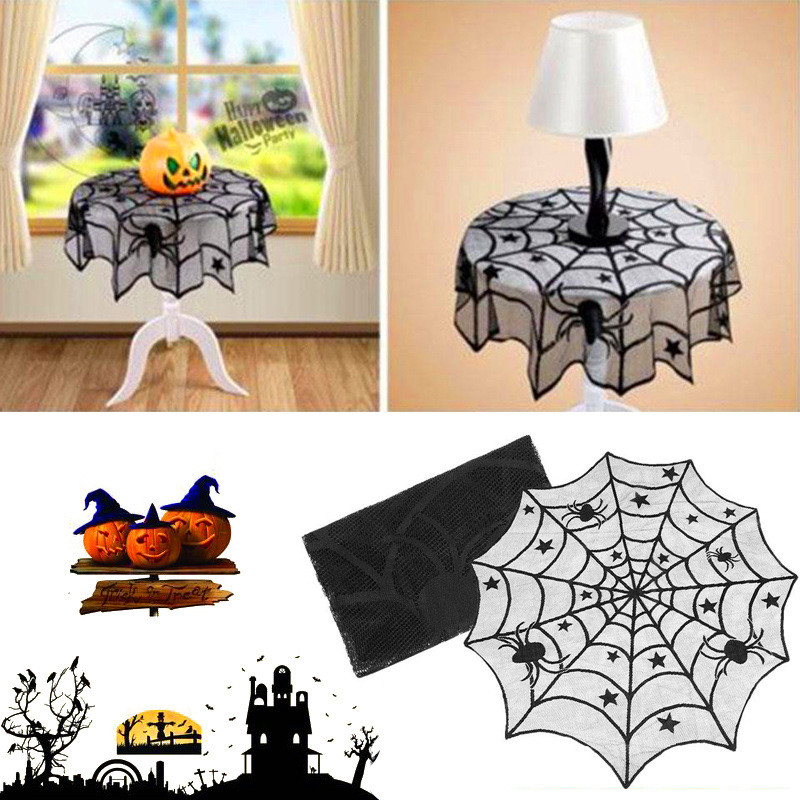 Halloween Party Table Cloth Black Lace Spiderweb Table Cover Decoration 100cm