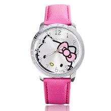 2018 оптовая продажа Новые кожаные Наручные часы для женщин девушки детей мультфильм моды hello kitty кварцевые часы Relojes 8O5