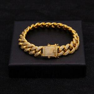 Image 2 - Uwin Hip Hop Luxury Crystal Cz Zircon Triple Lock Bracelet 14mm Cuban Link Box Clasp Bracelet Men Female Jewlery Drop Shipping