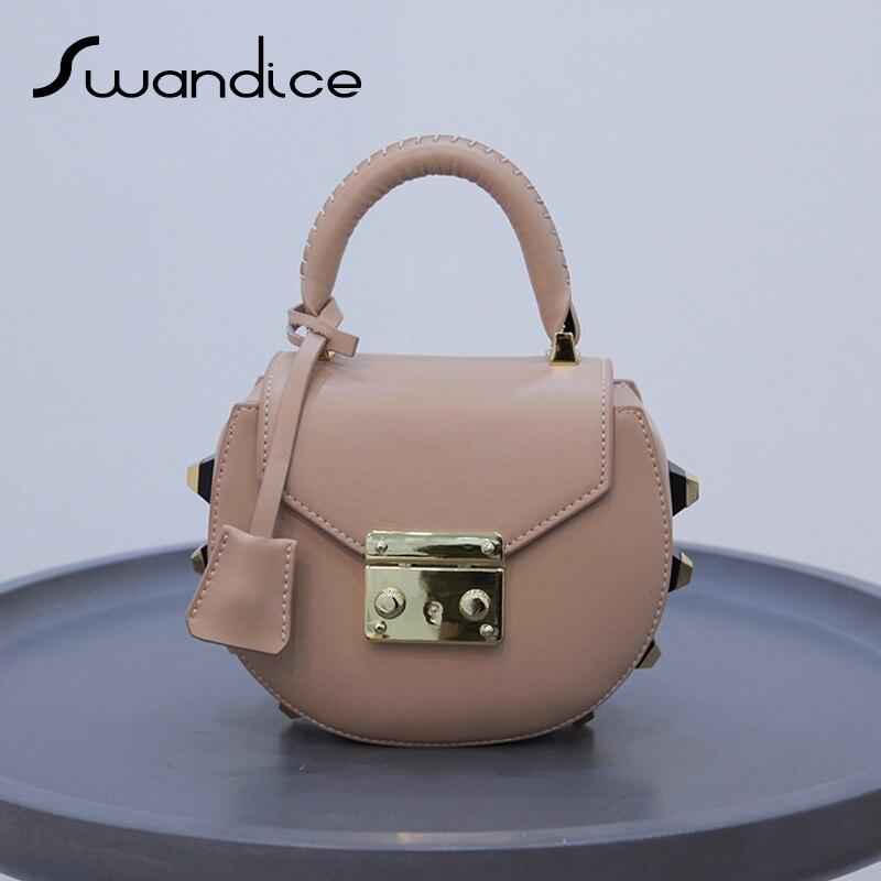 Genuine Leather Mimi Studs Saddle Rivets Handbags Vintage Drew Crossbody  Messenger Shoulder Bags Small Mini Women
