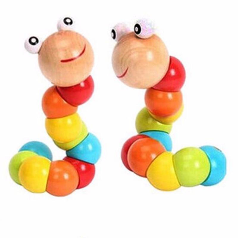 حشرات رنگارنگ پیچ و تاب چوبی کودک بچه انگشتی آموزش انعطاف پذیر اسباب بازی آموزشی