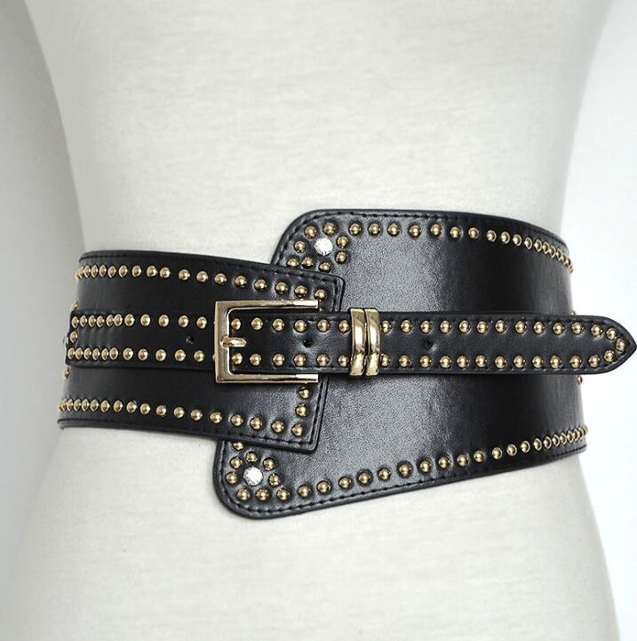 Women's Runway Fashion PU Leather Rivet Elastic Punk Cummerbunds Female Dress Corsets Waistband Belts Decoration Wide Belt R1395