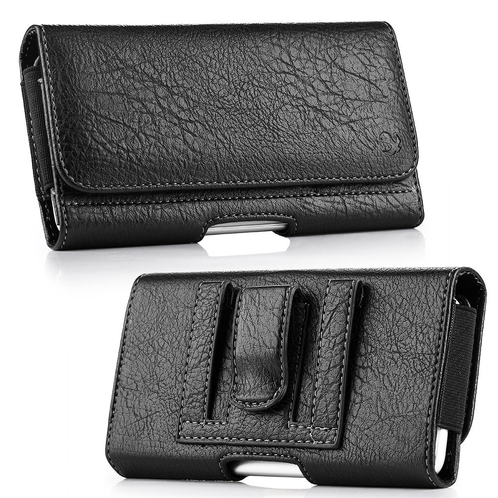 universal leather pouch phone case and magnetic waist bag with horizontal phone and belt clip