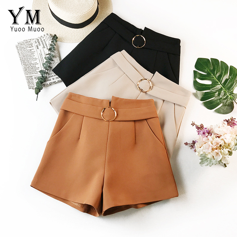 YuooMuoo Casual High Waist   Shorts   for Women European and American Fashion Autumn   Short   Jeans Women Loose Ladies Bottom   Shorts