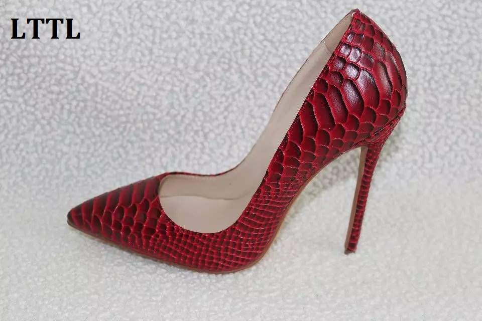 ФОТО Hottest 12CM Stilettos 2017 Luxury Women Pumps Sexy Pointed Toe High Heels Shoes Embossed Leather Party Shoes Red Blue Black