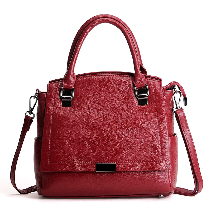 Famous brand 100% genuine cowhide leather women totes handbag vintage ladies shoulder bags high quality messenger/crossbody bag bailar fashion women shoulder handbags messenger bags button rivets totes high quality pu leather crossbody famous brand bag