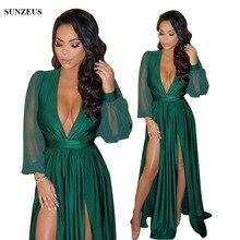 Sexy V Neck Long Sleeve Emerald Green Prom Dresses Two Slit Front Celebrity Party Gown Long Jersey Vestido De Festa SAU540 цена 2017
