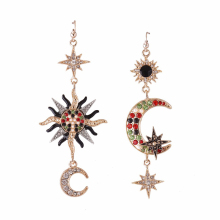 Paved Rhinestone Sun Moon Long Drop Earrings Gold Color Rhinestone Dangle Earrings for Party Dress Women Fashion Jewelry a suit of graceful rhinestone moon necklace and earrings for women