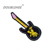 DOUBLEHEE 2.7cm*7cm Embroidered Iron On Patches Black Guitar Music Lovers Design Motif T-shirt Bags Applique Accessories