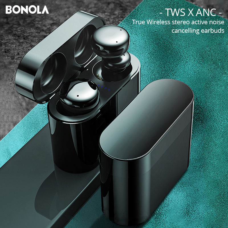 Bonola ANC Wireless Bluetooth Earphone Stereo Active Noise Canceling Earbuds TWS Touch Key Bluetooth 5 0
