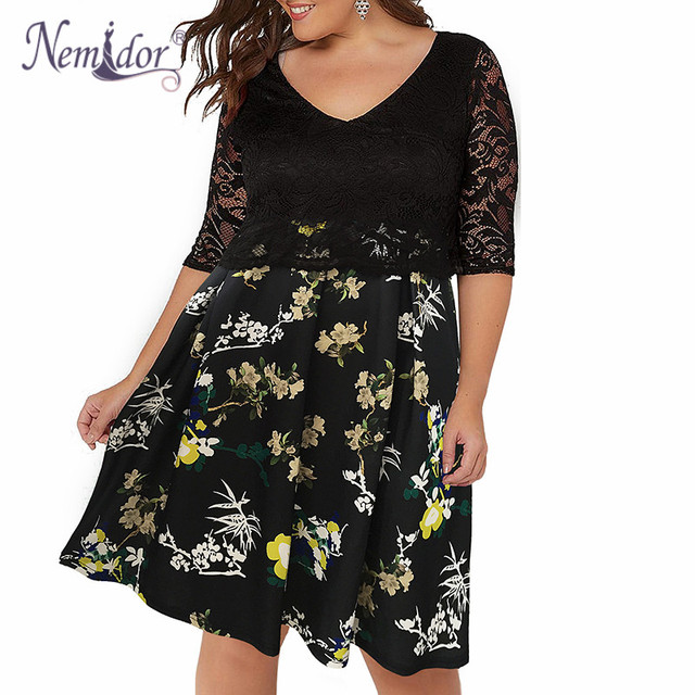 Women Half Sleeve Plus Size Dress 8XL 9XL A-line Dress Elegant V-neck Cocktail Floral Print Lace Swing Dress 3