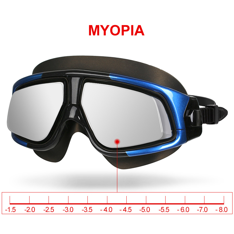 Copozz Mirrored Myopia Swimming Goggles Silicon Large Frame Swim Glasses Waterproof Anti Fog UV Eyewear Men and Women Mask mother