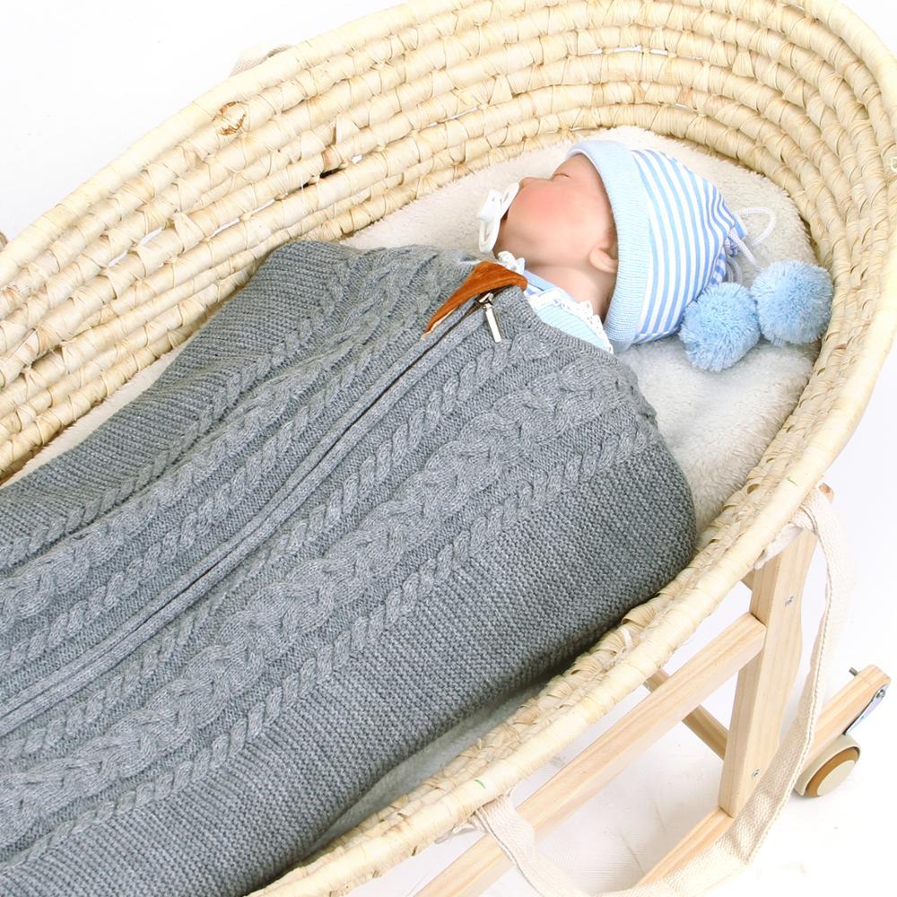 Baby Sleeping Bags Envelopes for Stroller Sleepacks Autumn Winter Solid Knitted Infant Bebes Sleepsack Toddler Kids Swaddle Wrap