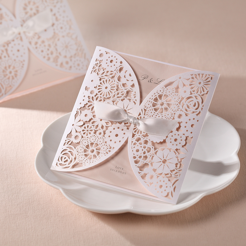 2017 New 12Pcs Lot Pink Laser Cut Wedding Invitations Cards With White Bow Decoration Printable Flora