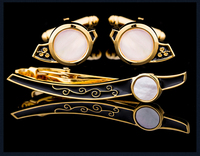 KFLK Shell Cuff links necktie clip for tie pin for mens tie bars cufflinks tie clip set Cufflinks Free Shipping 2018 New Arrival