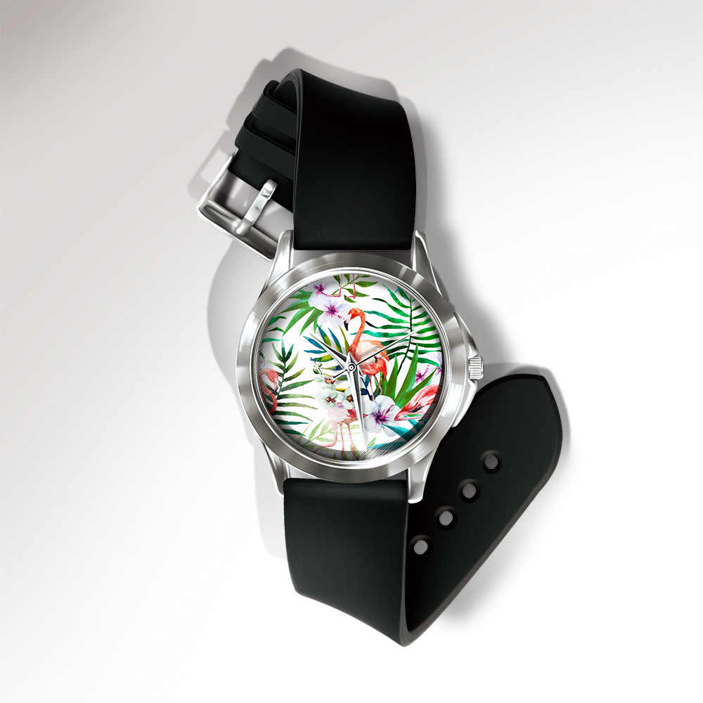 8SEASONS Silicone PVC Quartz Wrist Watches Flamingo Bird Animals Pattern Watch Black Trendy Women Men Jewelry Multicolor, 1 PC