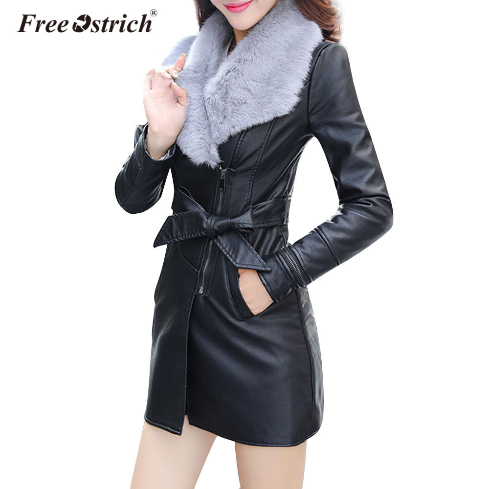 Free Ostrich Pu Leather Jacket 2018 Autumn Winter Fashion Women's Slim Clothing Zipper Black Long Ladies Jackets Coats D40