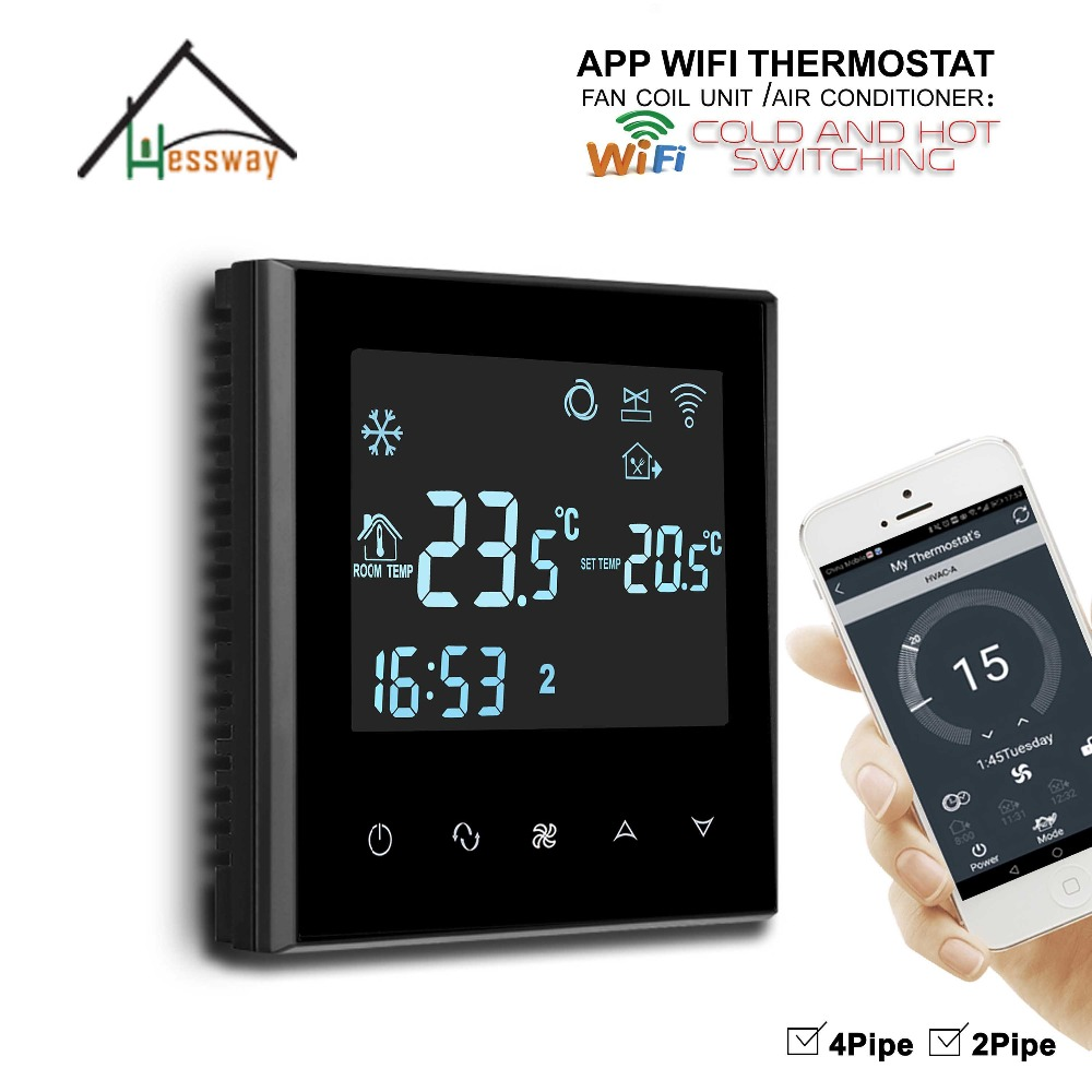 HESSWAY Touch Screen Programmable heat cool temp THERMOSTAT WIFI for APP Controller hessway app by smartphone 2p programmable fan valve room thermostat wifi fcu for heating cooling