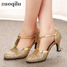 Oro zapatos de mujer 2019 mujeres bombas zapatos de baile latino de tacón 5  CM de tacón bajo de boda zapatos de fiesta de oro de. d616c00788ce