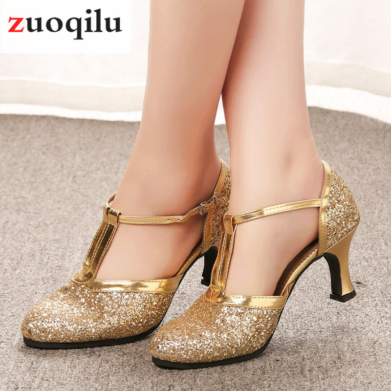 Gold High Heels Women Shoes 2019 Pumps Women Shoes Latin Dance Shoes 4CM Low Heels Female Wedding Party Shoes Talon Femme