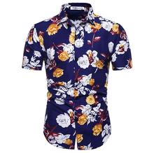 Social Blouse Mens clothing Slim Flower Hawaiian Shirt for Boys Short sleeve Men Floral Summer