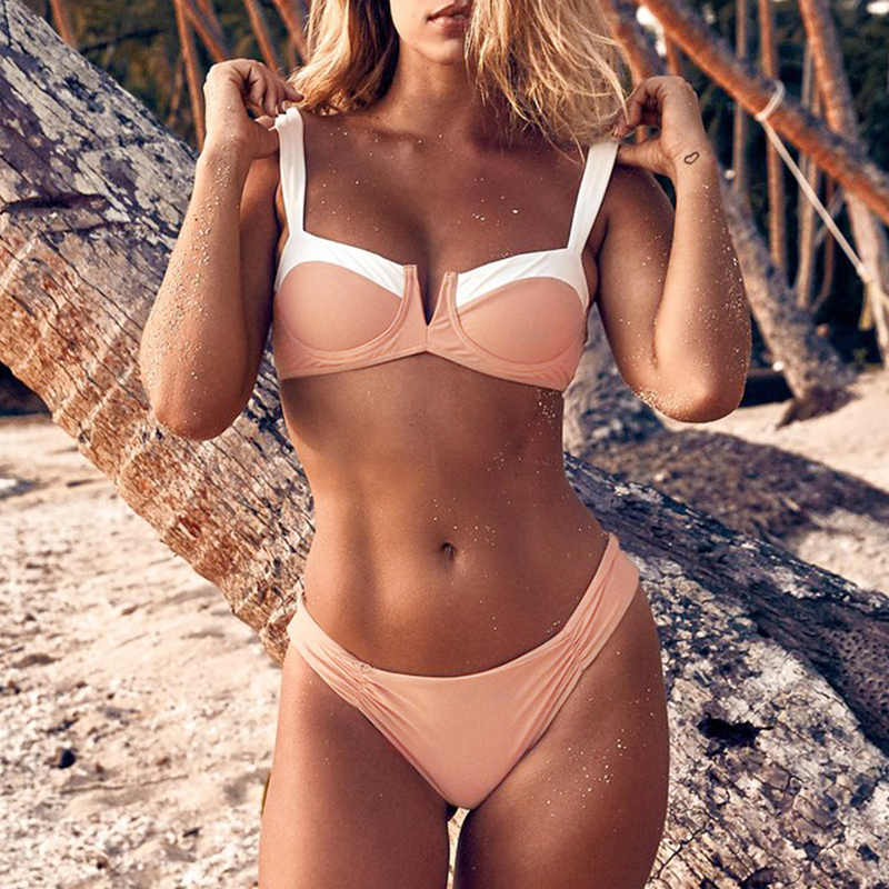 NLW Summer 2019 Beach Patchwork Women Bathing Bra Sets Suits Swimming Bra and Briefs Sets Set Sexy Two-pieces Bra and Briefs Set