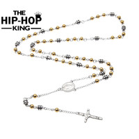 Gols Silver Color Stainless Steel Rosary Bead Chain Jesus Christ Cross Pendant Rosary Necklace Mens Womens