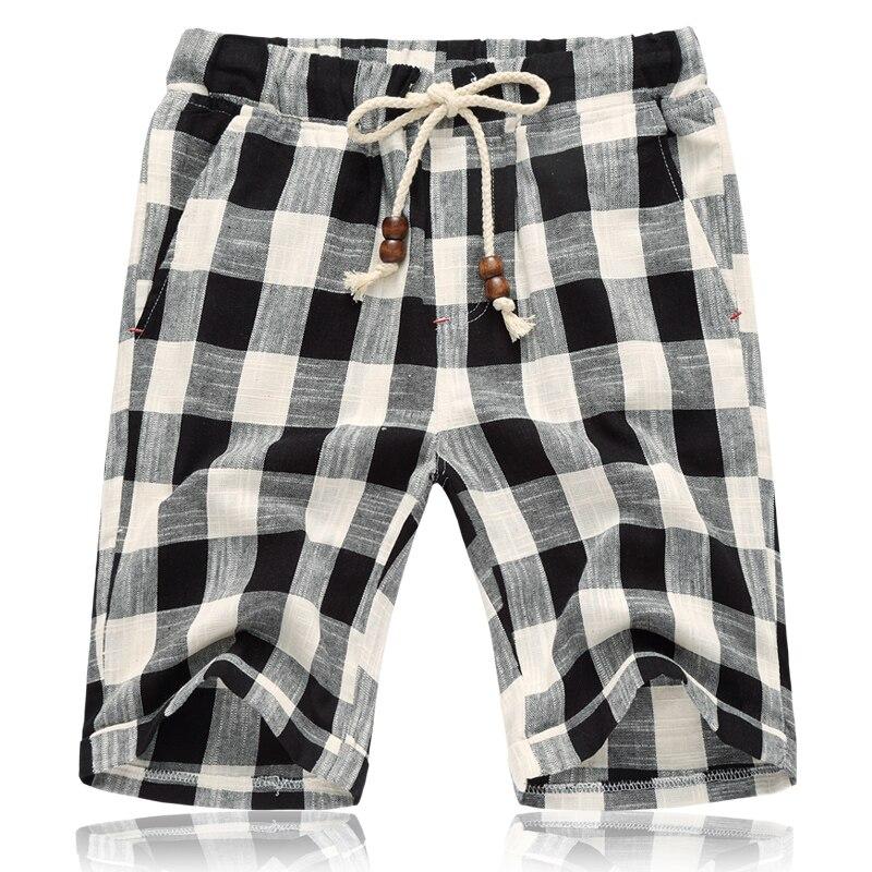 Symbol Der Marke 2019 Sommer Neue Männer Bermuda Casual Shorts Lose Gerade Baumwolle Strand Plaid Kurzen Hosen Männlichen Marke