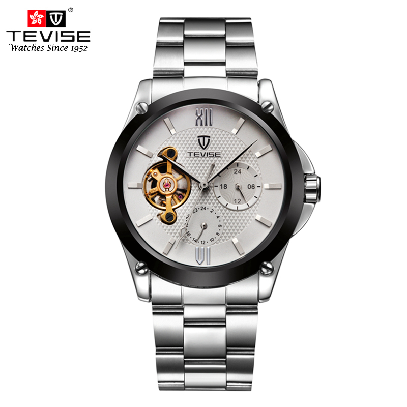 TEVISE Mens Watches Automatic Self-Wind Mechanical Watch Tourbillon Stainless Steel Luxury Wristwatch Relojes Hombre 8502 tevise men watches automatic self wind mechanical black leather tourbillon gold tonneau dial crocodile pattern wristwatch t8012