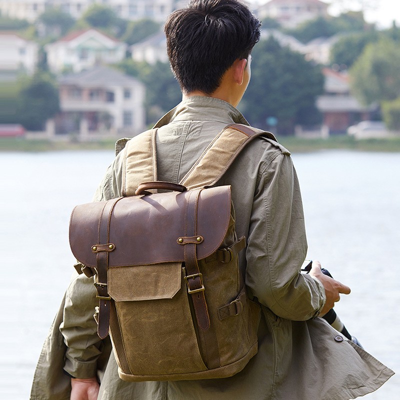 Оригинальный мужской рюкзак из натуральной кожи, большая вместительность, crazy horse, кожаная мужская сумка на плечо для ноутбука, Ретро стиль, ... - 6