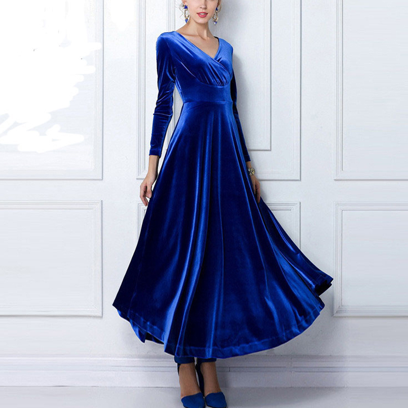 2017 New Fashion Office Women Dress Plus Size Long Sleeve Velvet Ankle Length Party Dresses  MT1005