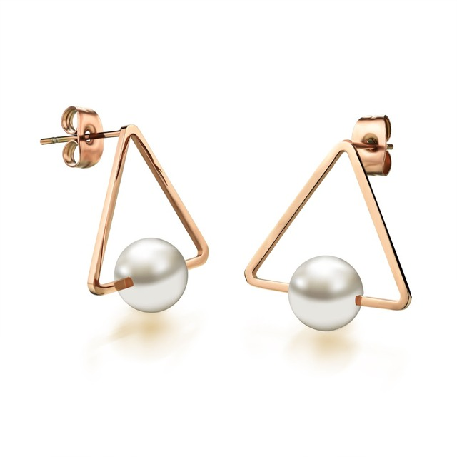 Natural Pearl Earrings Stainless Steel For Women Stud Earring Large Rose Gold Color Jewelry