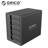ORICO Aluminum USB3.0 5 bay 3.5 inch SATA Hard Drive Enclosure 50TB Max With 12V6.5A EU Plug Power Adapter Raid Function