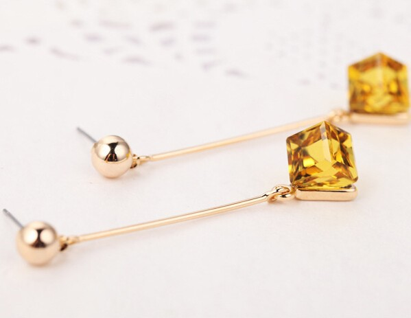 15 Colors Crystal Cube Dangle Earrings