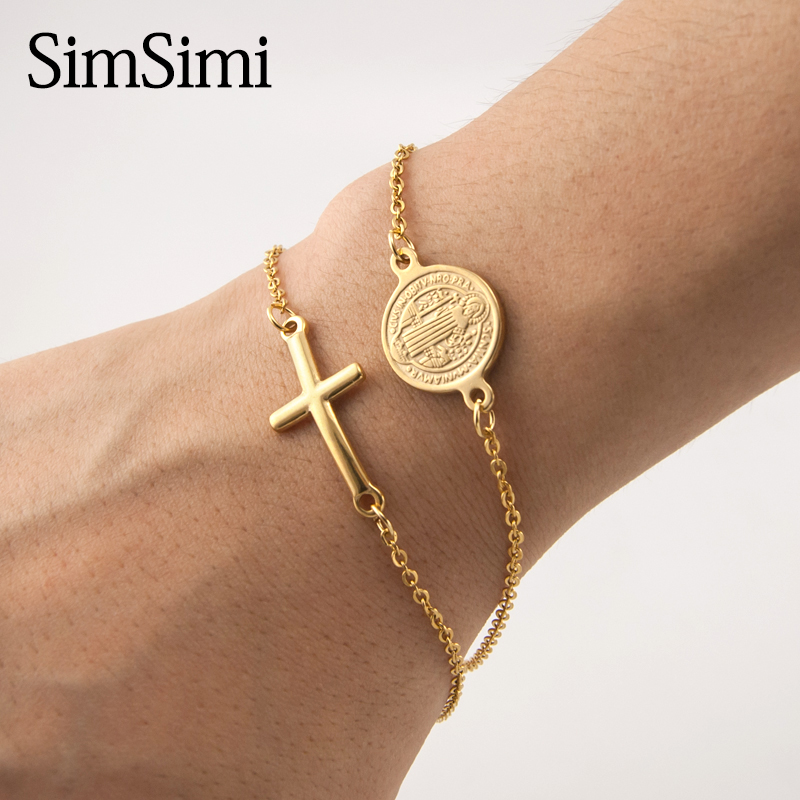 100% Stainless Steel Saint Benedict Medal Cross Charm Gold/Silver Religious Bracelet Catholic Medals Bracelet Pulsera Catolica lingerie top