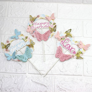 Image 5 - Pink Blue Paper Butterfly Garland Cake Toppers Happy Birthday LOVE Cake Top Decor Birthday Wedding party Supplie