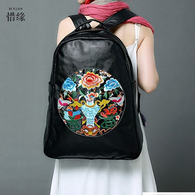 Schultertasche Escolar Handmade Rucksack Geschenk Leder Mochila Vintage Mädchen Nation Rucksäcke Bookbags Wind Leather Weibliche Schultaschen Genuine qvggwR8n