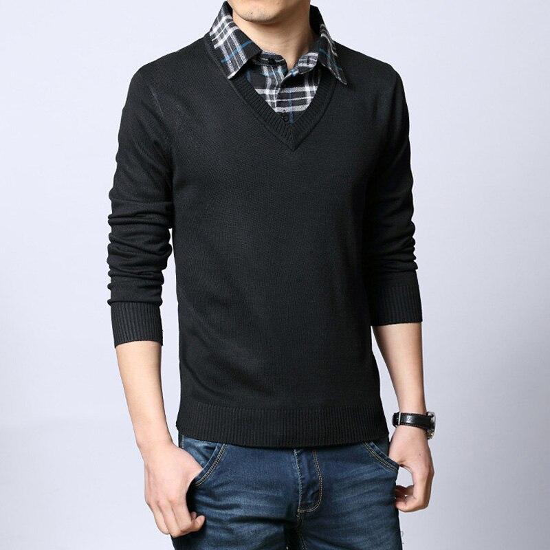 2019 autumn Male sweater shirt collar slim faux two mens fashion long cotton piece sweater plus size M L XL XXL 3XL 4XL 5XL
