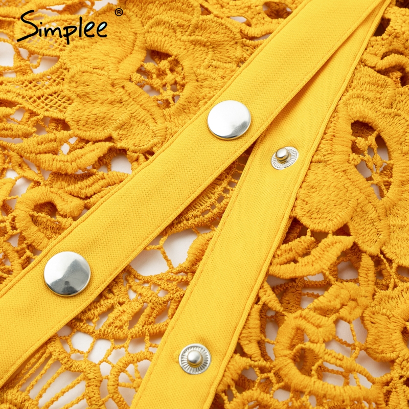 Image 5 - Simplee Hollow out bodycon midi women summer dress Embroidery two  piece co ord button female sundress Elegant holiday vestidosDresses