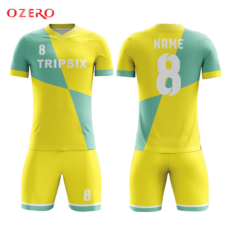 custom yellow soccer clothing,sublimation custom team sports jersey