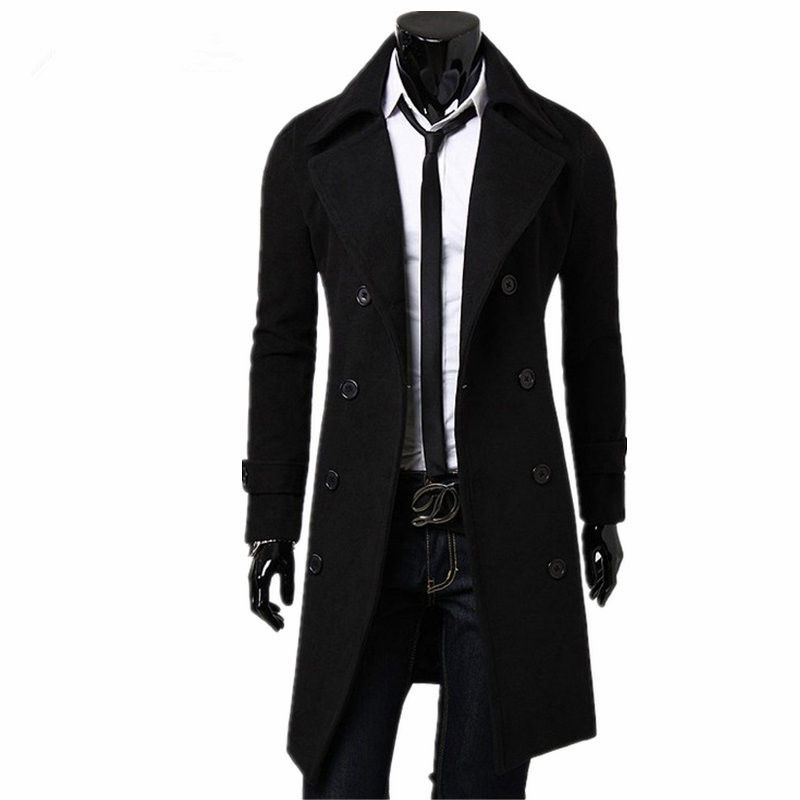 2018 New Fashion Designer Men Long Coat Mens   Trench   Coat Autumn Winter Double-breasted Windproof Slim   Trench   Coat Men Plus Size