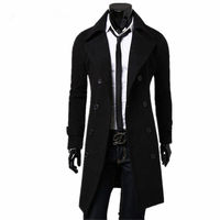 2018 New Fashion Designer Men Long Coat Mens Trench Coat Autumn Winter Double breasted Windproof Slim Trench Coat Men Plus Size