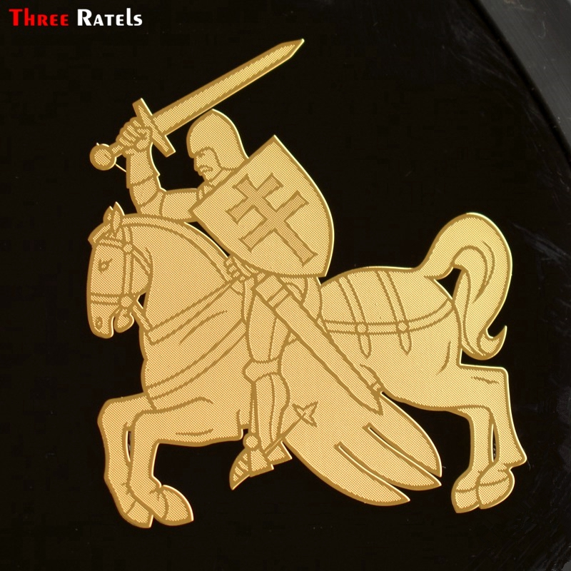 Three Ratels MT-054# 60*66.4mm 1-2 Pieces The Coat Of Arms Of Lithuania And Belarus Car Sticker Horse Knight Metal Golden Decal