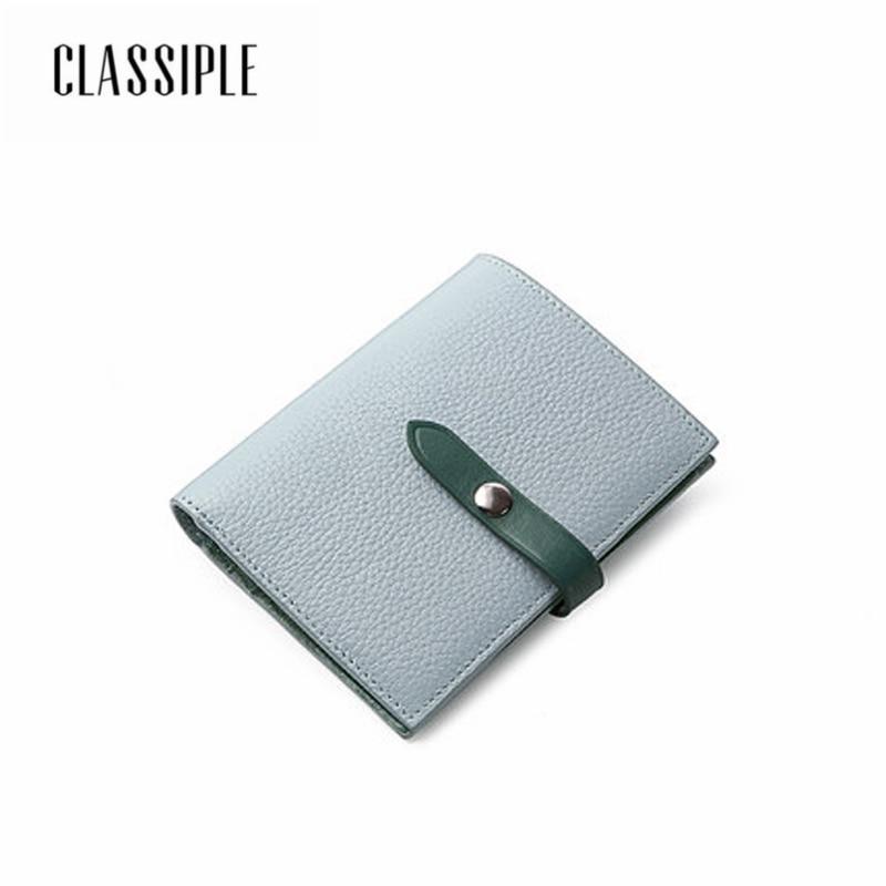 100% Genuine Leather Wallet Ladies Card Holder Short Wallet Women 2018 Fashion Bag Blue Female Handbag Money Coin Purses Holder
