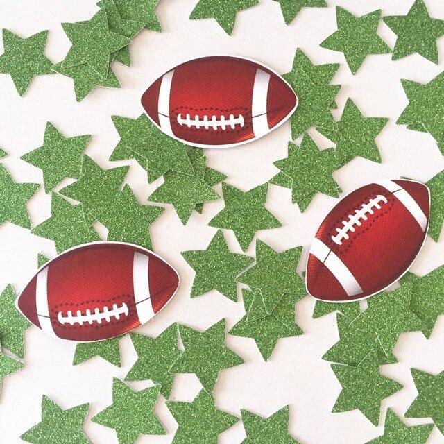 811 Ballon De Rugby Football Américain Décorations De Fête Danniversaire Confettis De Table 30 Balles 90 étoiles Vertes Dans Bannières