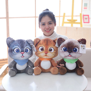 Image 3 - 20cm Cute Soft 3D Simulation Stuffed Cat Toys Double side Seat Sofa Pillow Cushion Kawaii Plush Animal Cat Dolls Toys Gifts