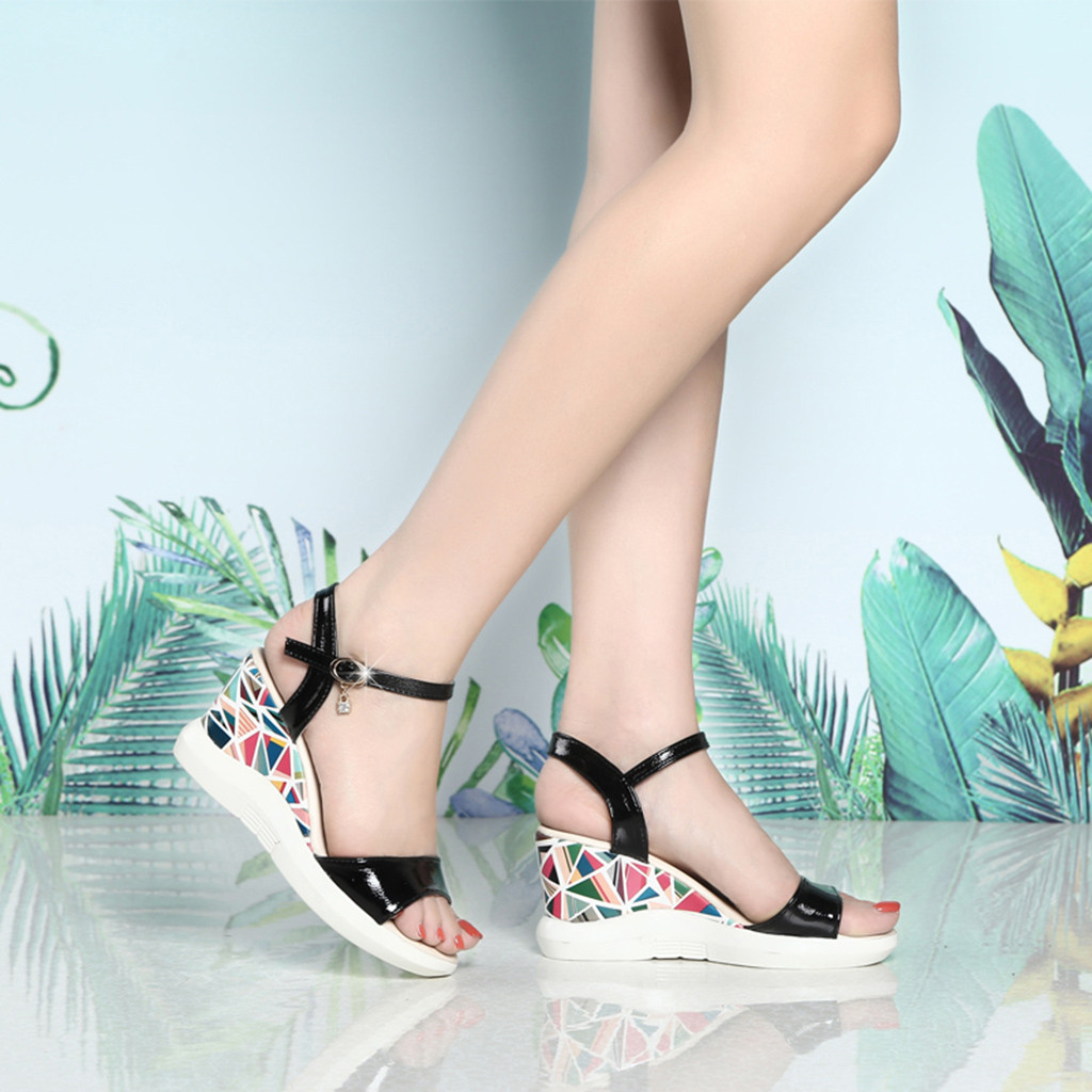 Women Ladies Fashion Wedges Buckle Causal Shoes Sandals Sexy High Quality Outside 5cm-8cm