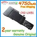 Genuine original 4750mah 14.8v C42-UX51 battery for Asus Zenbook UX51 UX51VZ U500VZ UX51VZA Series batteria batteries AKKU best