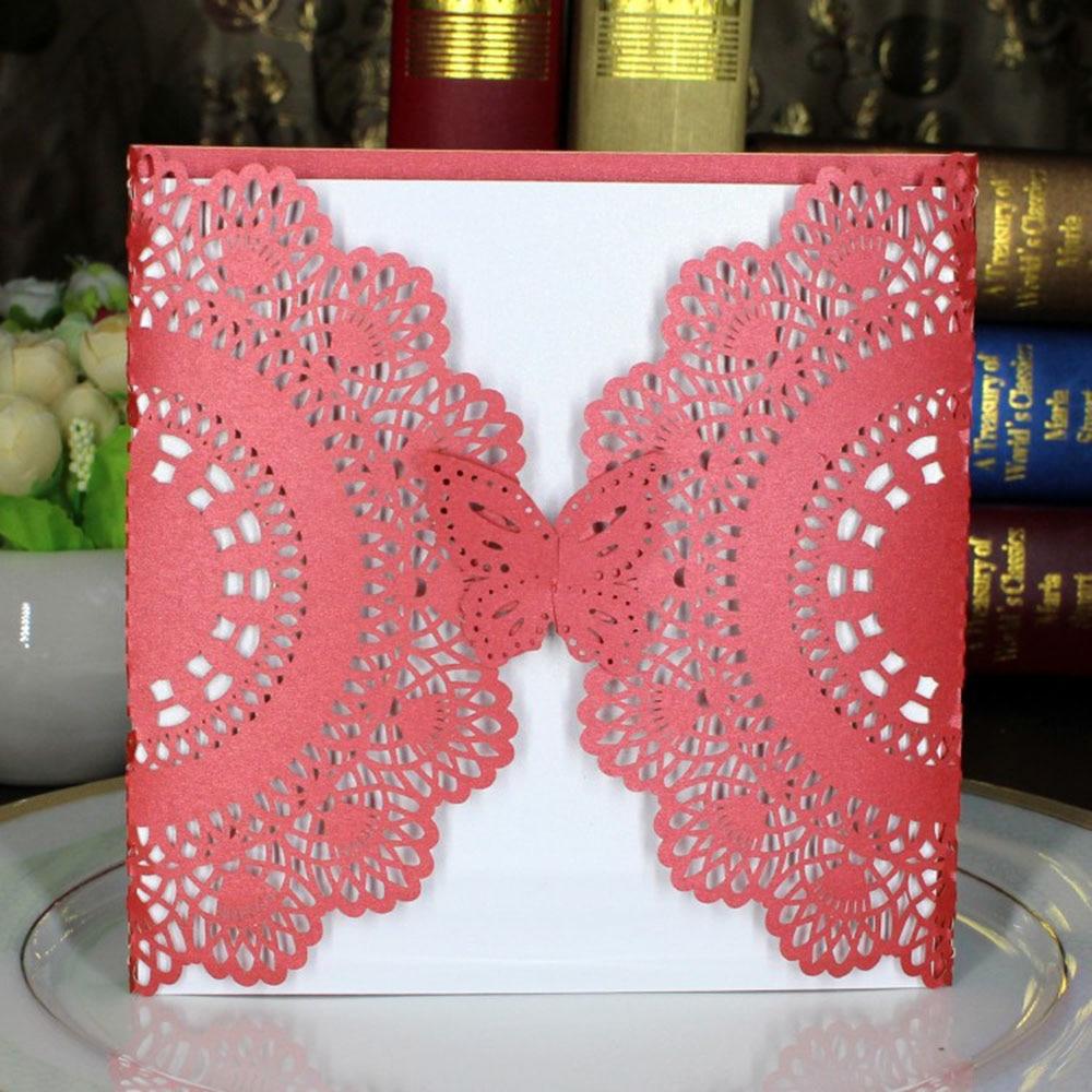 1pcs Laser Cut Paper Red Invitation Card Creative DIY Happy Wedding ...