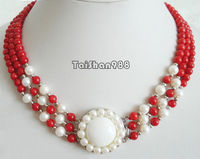 Hot sale Free Shipping>>3 Rows Genuine Red Coral White Pearl Sun Flower Pendant 18KWGP Clasp Necklace